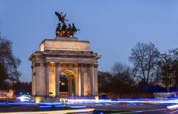 Wellington Arch and car streaks Royalty Free Stock Photography