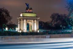 Wellington Arch en Londres, Reino Unido Foto de archivo libre de regalías