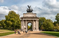 The Wellington Arch in Hyde Park Corner. royalty free stock photo