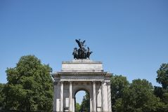 Wellington Arch in Hyde Park. London, United Kingdom - June 25, 2018 : Wellington Arch in Hyde Park in London Royalty Free Stock Photography