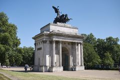 Wellington Arch in Hyde Park. London, United Kingdom - June 25, 2018 : Wellington Arch in Hyde Park in London Stock Image