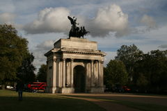 WELLINGTON ARCH IN LONDON. View at Wellington Arch in London near Hyde Park gardens Stock Photos