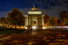 Wellington Arch-monument in Londen, het UK stock foto