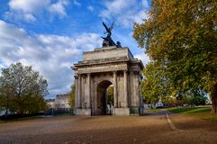 Wellington Arch monument in London, UK. It`s a triumphal arch located to the south of Hyde Park in central London and at the western corner of Green Park stock photos