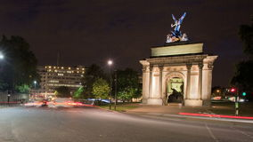 Wellington Arch at night stock video footage