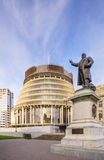 Wellington The Beehive. Wellington, The Beehive, New Zealand's Parliament Building, and the statue of Richard John Seddon, New Zealand's longest serving prime Stock Photos