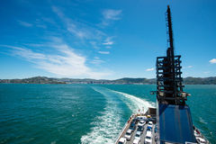 Wellington from board of ferry, New Zealand Stock Photo