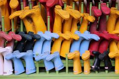 Wellington Boots Rack Arkivbilder