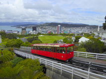 City railcar on incline stock photo