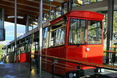 Wellington Cable Car at the top  of the Botanical Gardens. Wellington, New Zealand - November 5, 2015: Wellington Cable Car at the top  of the Botanical Gardens Stock Photography