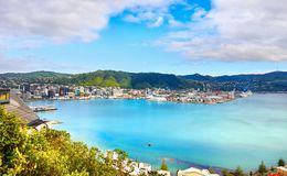 New Zealand,  Wellington Harbor, Oriental Bay, Cook Strait. Wellington - Capital City is the North Island port for Cook Strait ferries to Picton in the South Stock Image