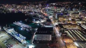 Wellington City, de tijdtijdspanne van de waterkant van Nieuw Zeeland stock videobeelden