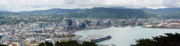 Wellington City & Harbour Panorama, New Zealand Stock Photography