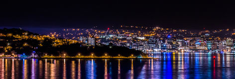 Wellington City Lights Fotografie Stock