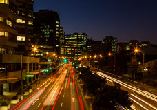 Wellington City Lights. Wellington at night with streaks of traffic lights too Royalty Free Stock Photography