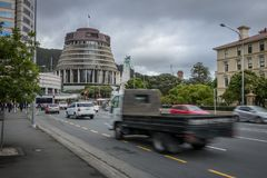 Wellington City Morning Rush Hour. Beehive and CBD with motion blur Stock Photos