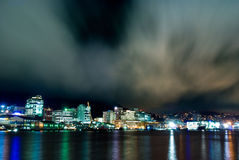 Wellington City, New Zealand. A night shot of Wellington City at dusk royalty free stock photo