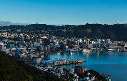Wellington City. The city of Wellington with it's blue harbor Stock Photo