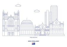 Wellington City Skyline, Neuseeland Stockbilder