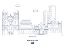 Wellington City Skyline, Nova Zelândia ilustração royalty free
