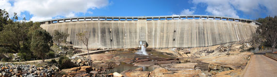 Wellington Dam Retaining Wall Panorama Royalty Free Stock Photo