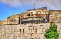 Wellington Front Right Bastion i Gibraltar royaltyfri fotografi