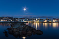 Wellington Harbor Moonlight Arkivfoton