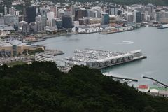 Wellington harbour at a birds eye view stock photography