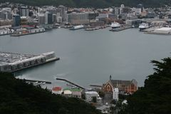 Wellington harbour at a birds eye view Stock Images