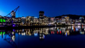 Wellington Harbour & CBD. Wellington, New Zealand Harbour and Central Business District at night Stock Photos
