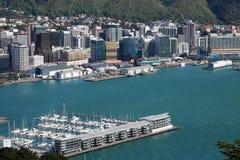 Wellington Harbour e lungomare, Nuova Zelanda Fotografia Stock Libera da Diritti