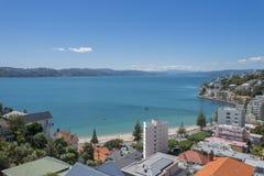 Wellington Harbour und orientalische Bucht Stockfotos