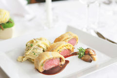 Wellington lamb with pasta Stock Photography