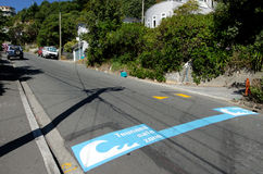 Wellington Cityscape. WELLINGTON - MAR 01:Tsunami safe zone marked on the streets of Wellington,NZ on March 30 2013.Tsunami generated by an earthquake in Cook Royalty Free Stock Photos