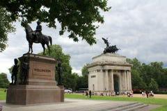 Wellington Memorial en Boog Londen stock afbeelding