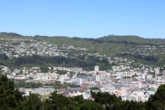 Wellington from Mount Victoria lookout New Zealand. Looking down to buildings in the city center of Wellington from Mount Victoria lookout, North Island, New Royalty Free Stock Images