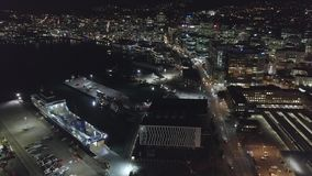Wellington na noite, Nova Zelândia, antena que estabelece o tiro 4k filme