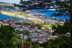 Wellington, New Zealand as seen from Mount Victoria. View from the top of Mount Victoria, Wellington, New Zealand, Aotearoa Stock Images