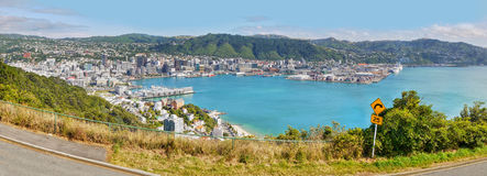 Wellington, New Zealand. Wellington - Capital City, New Zealand. Wellington coastal area and port, panoramic view from Mt. Victoria Royalty Free Stock Photos