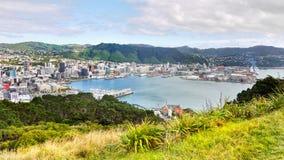 Wellington, New Zealand. Wellington - Capital City, New Zealand. Wellington coastal area and port, view from Mt. Victoria stock images