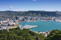 Wellington, New Zealand. City aerial view of marina and downtown skyscrapers Stock Images