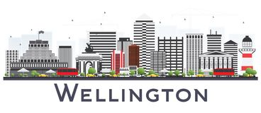 Wellington New Zealand City Skyline avec Gray Buildings Isolated illustration stock