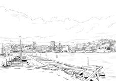 wellington New Zealand Handen drog staden skissar också vektor för coreldrawillustration Royaltyfri Fotografi