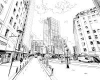 wellington New Zealand Handen drog staden skissar också vektor för coreldrawillustration Arkivbild