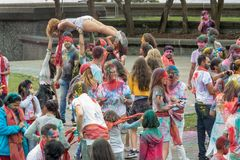 Crowd Has Fun At Holi Color Festival Royalty Free Stock Photos