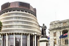 The Beehive, Wellington, New Zealand. Wellington, New Zealand - 18 July 2016: The 'Beehive' is the popular name for the Executive Wing of the parliamentary Royalty Free Stock Image