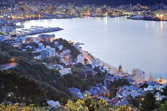 Wellington New Zealand Twilight Over CBD royalty-vrije stock afbeelding