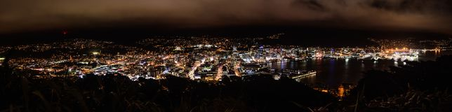 Wellington night scene panorama Stock Photos