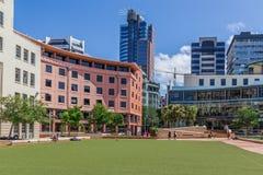 Wellington, Nova Zelândia, o 13 de fevereiro de 2016: Quadrado cívico, Wellington, NZ Foto de Stock Royalty Free