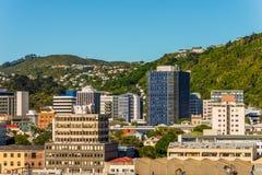 Wellington, Nowa Zelandia W centrum drapacze chmur i biurowy buildi - obrazy stock
